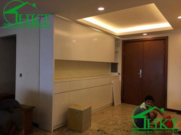 tu giay go mau trang 600x450 - Báo giá thi công đồ gỗ, nhận thi công nội thất Hà Nội