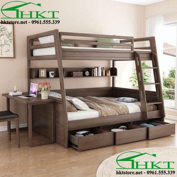Mẫu giường tầng gỗ óc chó GN2