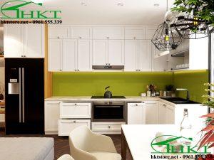 Tủ bếp gỗ công nghiệp sơn trắng TB12