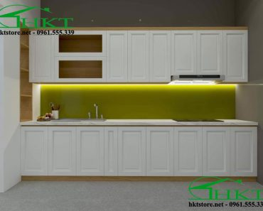 Tủ bếp gỗ sồi Mỹ sơn màu trắng TB16
