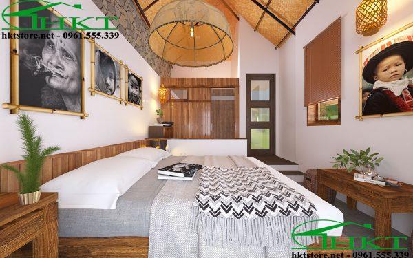 giuong ngu bungalow 600x375 - Thiết kế nội thất bungalow tại Sapa đẹp