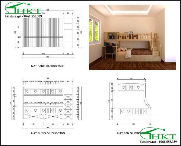 ban ve giuong tang cho be MPN10 600x484 - Mẫu thiết kế giường tầng cho bé gỗ tần bì MPN10