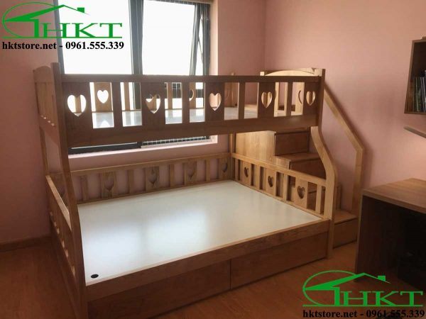 giuong tang cho be MPN10 600x450 - Mẫu thiết kế giường tầng cho bé gỗ tần bì MPN10