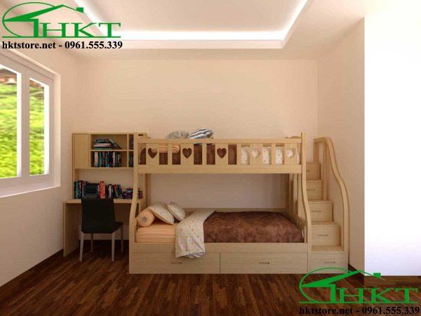 thiet ke 3d giuong tang cho be MPN10 600x450 - Mẫu thiết kế giường tầng cho bé gỗ tần bì MPN10